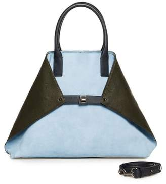 Akris Medium AI Bicolor Nubuck & Leather Tote