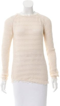 Inhabit Open Knit Fringe-Trimmed Sweater w/ Tags $95 thestylecure.com