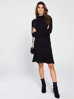 31ca471e330 Very Roll Neck Long Sleeve Fit and Flare Knitted Dress - Black