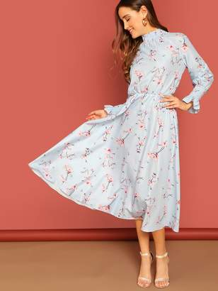 Shein Smocked High Neck & Sleeve Midi Floral Dress