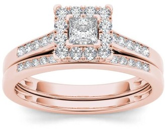 Imperial Diamond Imperial 1/2 Carat T.W. Diamond Single Halo 10kt Rose Gold Engagement Ring Set