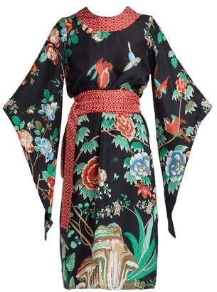 D'ascoli - Kimono Sleeve Belted Silk Midi Dress - Womens - Black Multi