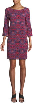 Neiman Marcus 3/4-Bell Sleeve Paisley Jersey Dress