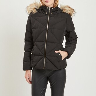 Vila Quilted Padded Jacket with Faux Fur Hood