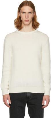 Saint Laurent Off-White Cashmere Crewneck Sweater