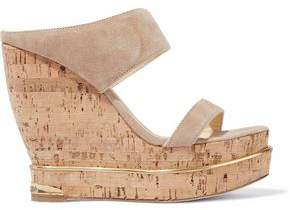 Paloma Barceló Suede And Cork Wedge Mules