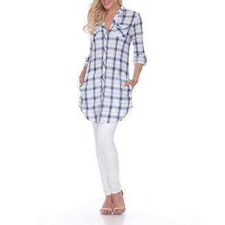 WHITE MARK White Mark Piper Plaid Tunic Top