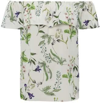 M&Co Floral print frill layer bardot top
