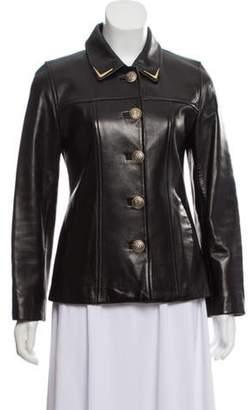 St. John Pointed Collar Leather Jacket Black Pointed Collar Leather Jacket