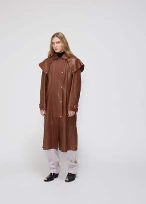 Calvin Klein Leather Double Layer Snap Button Coat