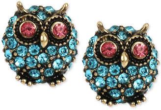 Betsey Johnson Gold-Tone Blue Pave Owl Stud Earrings