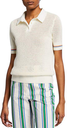 Tory Burch Mesh Short-Sleeve Polo Sweater