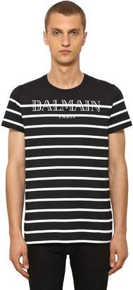 a9c84fad Balmain Striped Logo Cotton Jersey T-Shirt