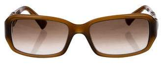 Fendi Narrow Leather-Trimmed Sunglasses