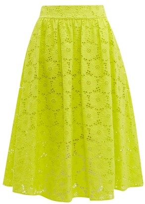 Diane von Furstenberg Tara High Rise Broderie Anglaise Cotton Midi Skirt - Womens - Yellow