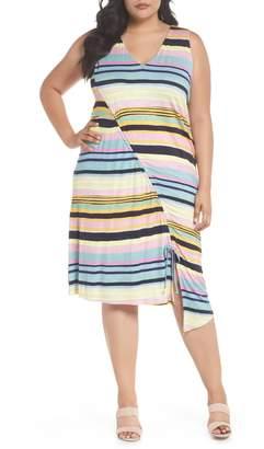 Rachel Roy Asymmetrical Cinched Stripe Dress