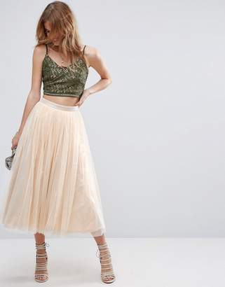 Asos Design Tulle Midi Skirt with Metallic Underlayer