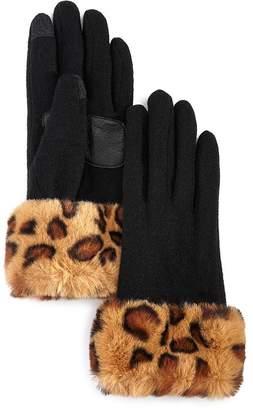 Echo Leopard-Print Faux Fur-Cuff Tech Gloves