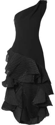 Maticevski - Flamenco One-shoulder Asymmetric Ruffled Crepon And Cady Dress - Black