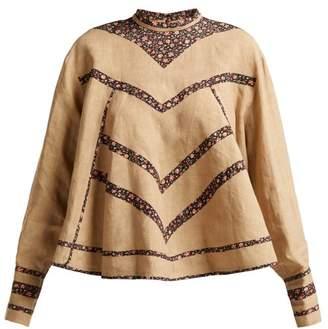 Isabel Marant Moony Oversized Linen Blouse - Womens - Beige