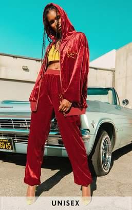 71475b75279 PrettyLittleThing KARL KANI Maroon Velour Embroidered Zip Up Hoodie