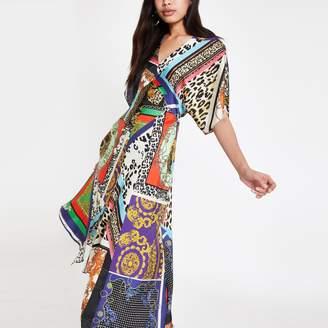 River Island Womens Black multi print asymmetric midi dress