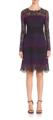 Elie Tahari Ophelia Colorblock Lace Dress $498 thestylecure.com