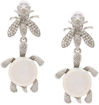Oscar de la Renta critters drop clip-on earrings