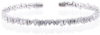 Suzanne Kalan 18K white gold and diamond Fireworks Classic baguette bangle