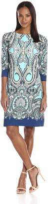 London Times Women's Scroll Paisley 3/4 Sleeve Jersey Shift Dress