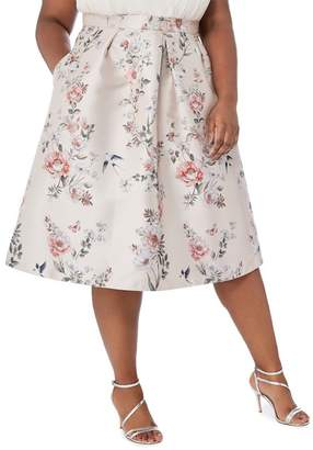 Debut Pale Pink Floral Print 'Jena' Knee Length Plus Size Prom Skirt