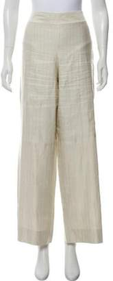 Giorgio Armani High-Rise Linen & Silk-Blend Pants Beige High-Rise Linen & Silk-Blend Pants