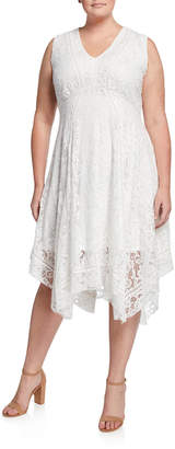 Neiman Marcus Plus Size V-Neck Sleeveless Lace Handkerchief Dress