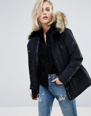 Pepe Jeans Olympia Faux Fur Trim Parka Coat