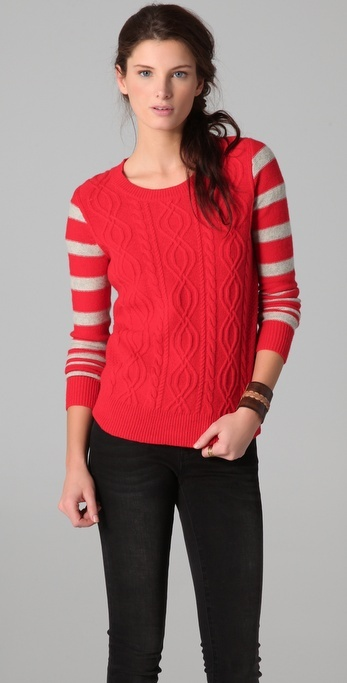 Madewell Theo Striped Sleeve Pullover