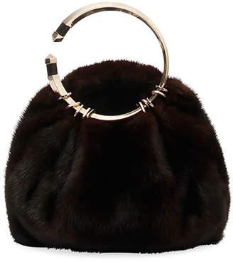 Valentino Bebop Loop Fur Clutch Bag