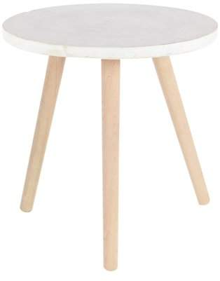 DecMode Decmode Contemporary 18 x 17 inch beech wood and white fiber clay round table, White