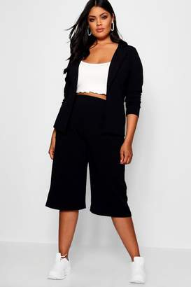 boohoo Plus Open Blazer Culotte Suit Co-ord