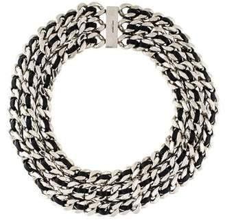 Saint Laurent Woven Leather Curb Chain Choker Necklace