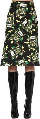 Prada Printed Cotton Poplin Midi Skirt
