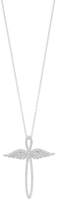 Hallmark Sterling Silver & Cubic Zirconia Angel Wings Infinity Cross Pendant Necklace