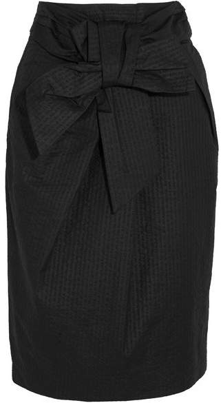 J.Crew - Tie-front Cotton-seersucker Skirt - Black
