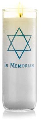 SmartChoice Yartzeit Memorial Candle Yahrzeit Light Candle with Star of David in Glass - White Paraffin Wax Candle Burning Time 7 Days