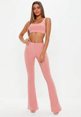 Missguided Blush Pink Flared Pants and Bralet Co Ord
