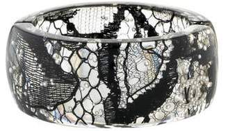 Chanel Lucite & Lace Faux Pearl Hinge Cuff