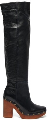 Jacquemus Sabots Leather Over The Knee Boots - Womens - Black