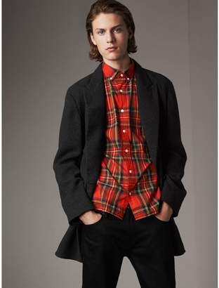 Burberry Prince of Wales Wool Blend Double-breasted Jacket