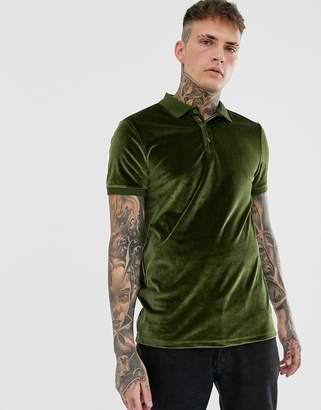 Asos Design DESIGN polo shirt in velour in khaki