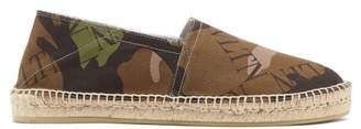 Valentino Vltn Collapsible Heel Canvas Espadrilles - Mens - Green