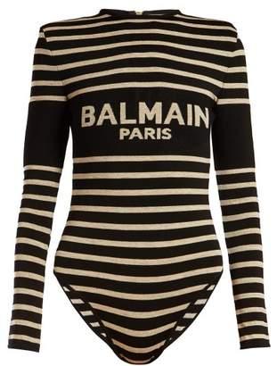 Balmain Logo And Striped Jacquard Bodysuit - Womens - Black Beige